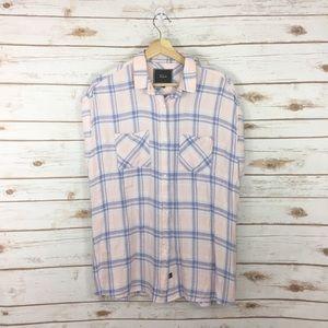 [Rails] Pink Plaid Button Down Shirt Size Large